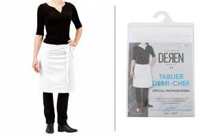 Tablier de cuisinier demi chef Deren 100% coton blanc