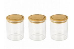Set de 3 pots en verre Pebbly avec couvercle bambou pour épices et condiments - 190ml