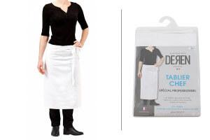Tablier de cuisinier chef Deren 100% coton blanc