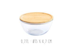 Bol de conservation en verre Pebbly avec couvercle en bambou
