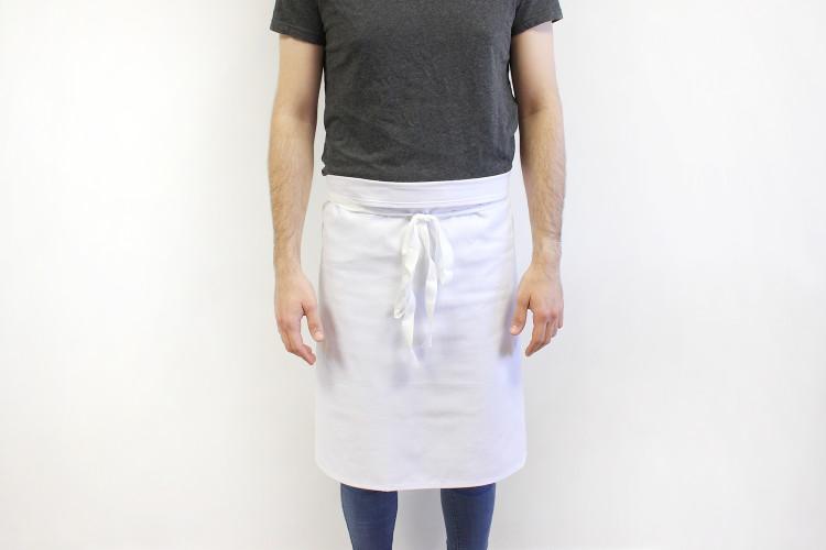 Tablier 1/2 chef professionnel 100% coton blanc 102 x 55cm