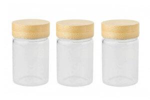 Set de 3 pots en verre Pebbly avec couvercle à vis en bambou - 75ml