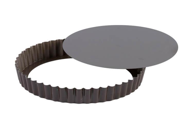 Tourtière ronde cannelée Gobel fond mobile - 7 tailles