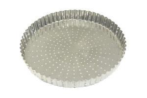 Tourtière ronde cannelée perforée Gobel fond fixe fer blanc