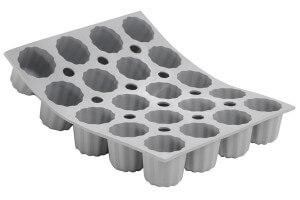 Moule à mini cannelés bordelais en silicone De Buyer Elastomoule 20 ou 28 alvéoles