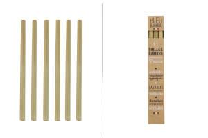 Set de 6 pailles en bambou Bleu Bambou fabriquées en France