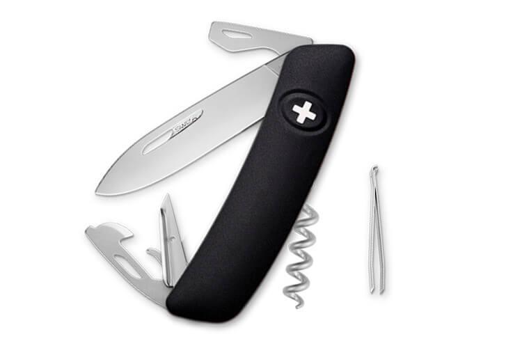 Couteau multifonction SWIZA D03 noir mat 11 fonctions 95mm
