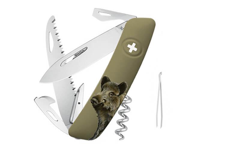 Couteau multifonction SWIZA D05 olive sanglier 12 fonctions 95mm