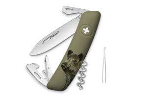 Couteau multifonction SWIZA D03 kaki sanglier 11 fonctions 95mm