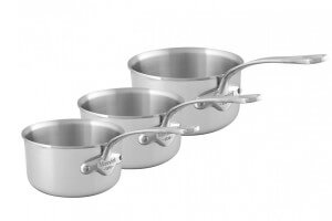 Set de 3 casseroles Mauviel M'Urban3 en inox 16, 18 et 20cm avec poignée fixe