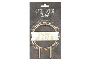 """Cake topper à LED """"Joyeux anniversaire"""" Scrapcooking en bois"""