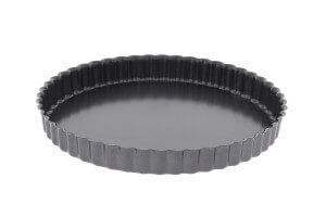 Moule à tarte cannelé en acier De Buyer à fond fixe bord droit