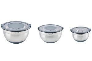 Set de 3 bols inox avec couvercles Mastrad 16, 20 et 24cm