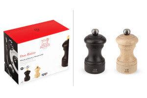 Coffret duo moulin à sel et poivre Peugeot Bistro en bois chocolat + naturel 10cm