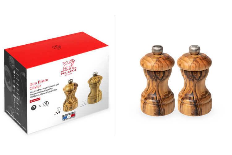 Coffret duo moulin à sel et poivre Peugeot Bistro en bois d'olivier 10cm