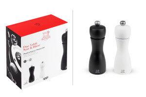 Coffret duo moulin à sel et poivre Peugeot Tahiti en bois noir + blanc