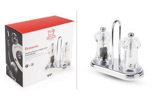 Duo moulin à sel et poivre Peugeot Brasserie en acrylique sur plateau - 11cm