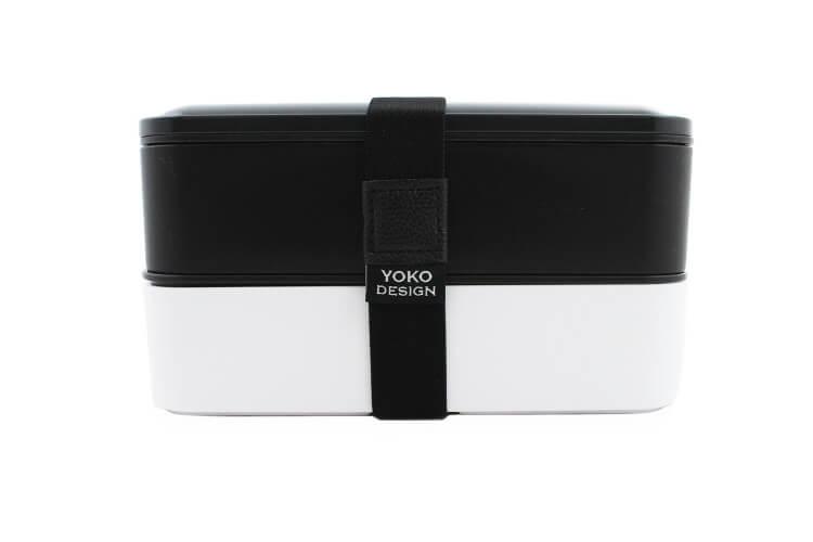 Lunch box 2 étages Yoko Design 1,2L noir + 1 set de couverts