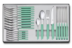 Ménagère 24 pièces Victorinox Swiss Modern acier inox 18/10 pastel vert menthe