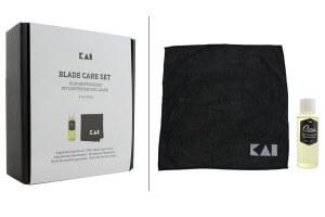 Kit de soin KAI pour entretien des couteaux de cuisine - Huile + Microfibre