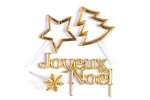 Set 4 décorations de bûche de Noël Scrapcooking - Doré