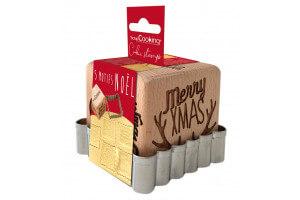 Tampon pour biscuits Scrapcooking en bois avec découpoir inox