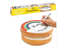 Rouleau pâte à sucre à personnaliser Scrapcooking Rainbow 110g avec feutre alimentaire
