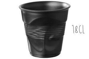 Tasse Revol Cappuccino Froissé 18cl en porcelaine noire satinée