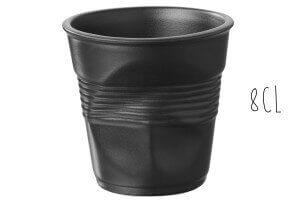 Tasse Revol Espresso Froissé 8cl en porcelaine noire satinée