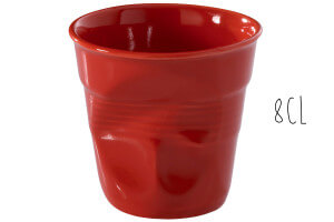 Tasse Revol Espresso Froissé 8cl en porcelaine piment