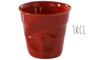 Tasse Revol Cappuccino Froissé 18cl en porcelaine piment