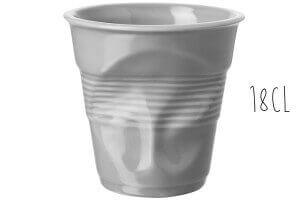 Tasse Revol Cappuccino Froissé 18cl en porcelaine grise