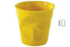 Tasse Revol Espresso Froissé 8cl en porcelaine jaune Seychelles