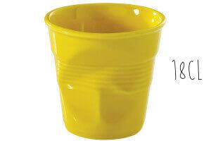 Tasse Revol Cappuccino Froissé 18cl en porcelaine jaune Seychelles