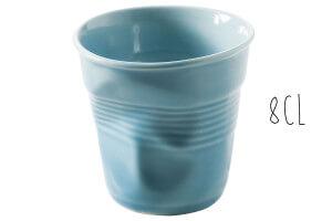Tasse Revol Espresso Froissé 8cl en porcelaine bleue Caraïbes