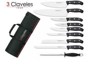 Malette de 9 couteaux DOMVS pour cuisiniers +  fusil 3 Claveles