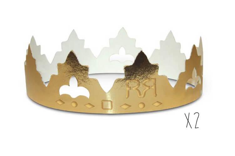 2 couronnes pour galette des rois couleur or