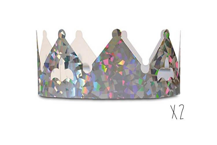 2 couronnes pour galette des rois couleur argent holographique