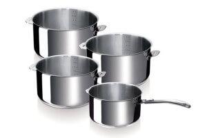 Set de 4 casseroles Beka Evolution en inox 14, 16, 18 et 20cm - Poignée amovible incluse