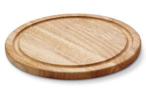 Planche à steak ronde Continenta avec rigole en bois d'hévéa