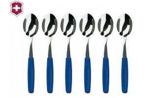 Ensemble de 6 cuilleres à café bleues Victorinox Acier