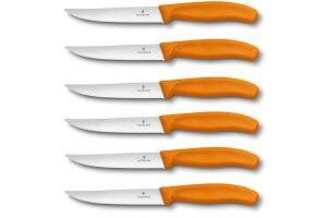 6 Couteaux à steak Victorinox lame crantée 12cm manche orange