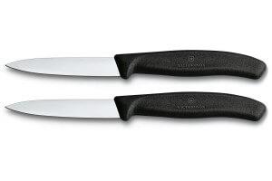2 Couteaux d'office Victorinox noirs lames 8cm pointe milieu