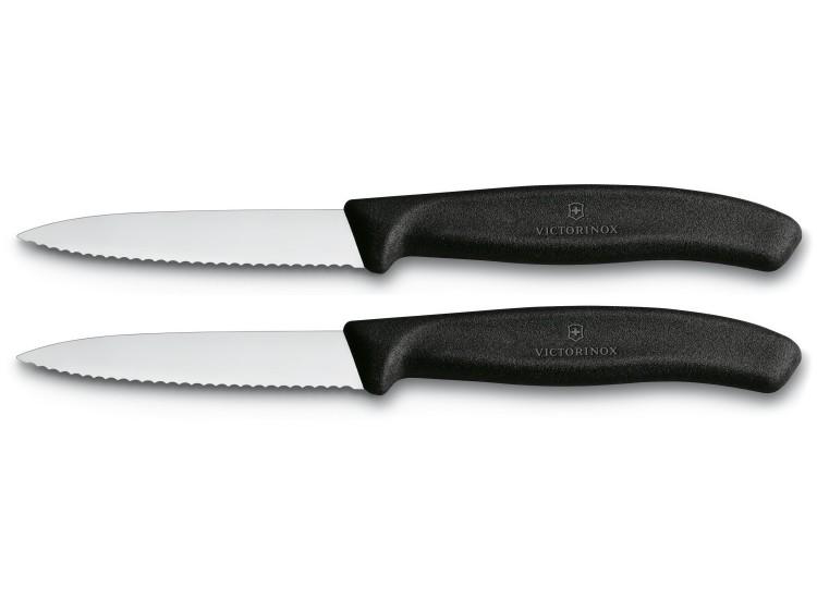 2 Couteaux d'office Victorinox lame à dents 8cm pointe milieu manche noir