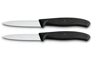 2 Couteaux d'office Victorinox noirs lame à dents 8cm pointe milieu