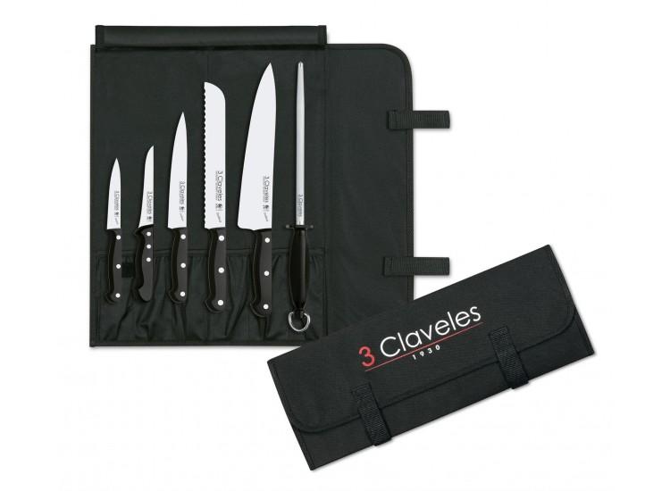 Trousse du chef 5 couteaux + 1 fusil 3 Claveles