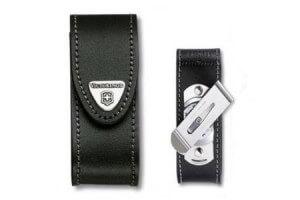 Etui cuir noir + clip pivotant Victorinox pour couteaux suisses 9,1cm - 6 à 14 pièces