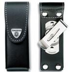 Etui cuir noir + clip pivotant Victorinox pour couteaux suisses 9,1cm - 15 à 23 pièces