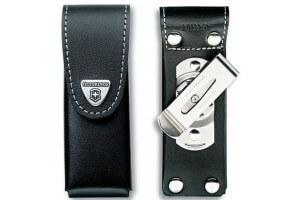 Etui cuir noir + clip pivotant Victorinox pour couteaux suisses 11,1cm - 4 à 10 pièces