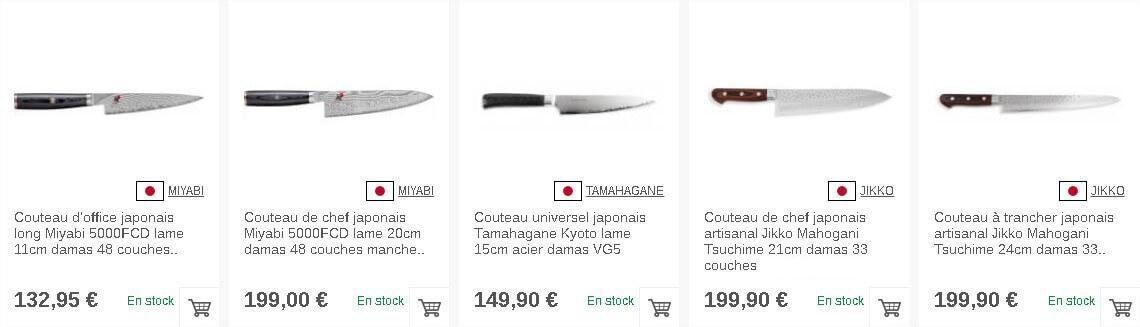 Couteaux de cuisine japonais sur Couteauxduchef